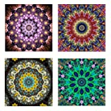 4 Pack 5D DIY Diamond Painting Set Decorating Cabinet Table Stickers Full Drill Rhinestone Diamond Embroidery Paintings Pictures, Mandala Flower Painting(25X25CM/9.8X9.8inch) (Color: Brown,yellow,green)