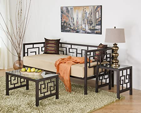 Greek Key Bronze Twin Daybed (Brown)