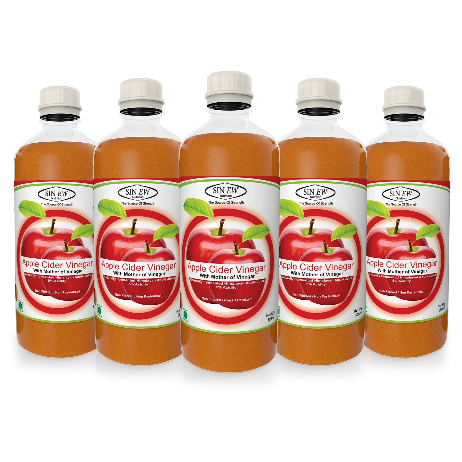 50% Off Or More Off On Groceries By Amazon | Sinew Apple Cider Vinegar With Mother of Vinegar- 500 ml Pack of 5 Unfiltered, Unpasteurised with all the natures benefits @ Rs.949