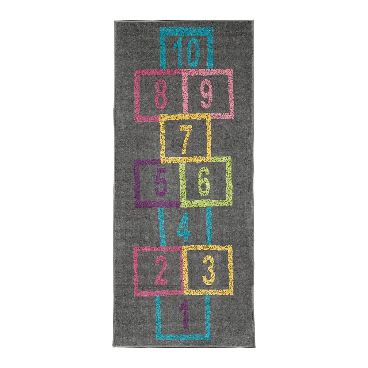 """Ottomanson Childrens Garden Collection Grey Background Hopscotch Street Chalk Design 27""""X60"""" Children Nursery Kids Play Runner Rug"""