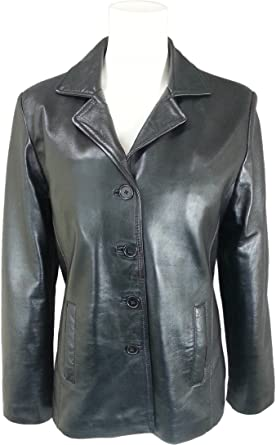 UNICORN Damen Klassische Anzug Blazer Mantel - Echtleder Jacke - Schwarz #HK