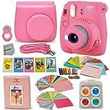 Fujifilm Instax Mini 9 Instant Fuji Camera (Flamingo Pink) + Accessories Bundle + Custom Matching Case w/Neck Strap + Photo Album + Assorted Frames + 4 Color Filters + 60 Sticker Frames + More (Color: c) Flamingo Pink)