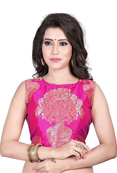 Kuvarba Fashion Color Pink Fabric Jacquard Readymade Designer Fancy Blouse at amazon