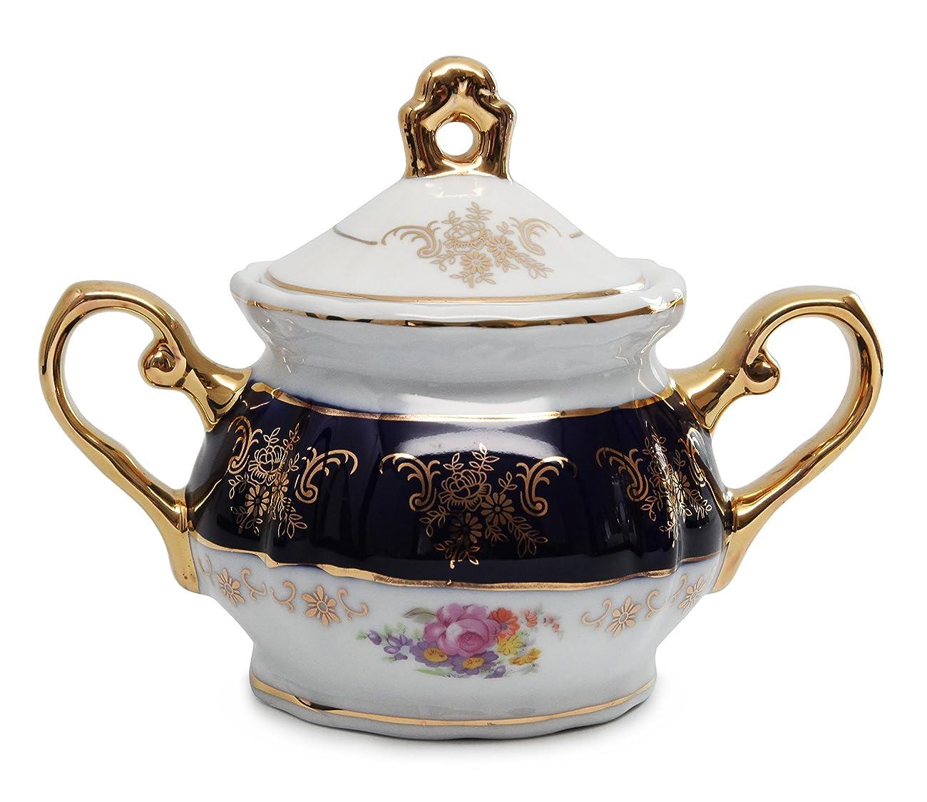 Royal Porcelain 17pc Flower-Patterned Dark Blue Tea Set, 24K Gold-Plated Original Cobalt Tableware, Service for 6 3