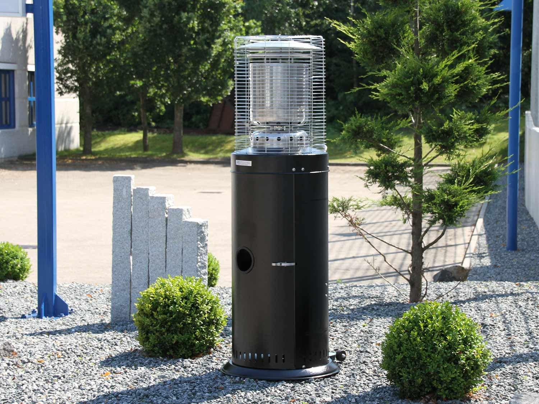 raedgard Heizstrahler Kompakt Midi schwarz, Höhe ca. 142 cm, schwarz pulverbeschichtet mit Rollenset und Schutzhülle, ca. 12 KW Heizleistung