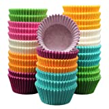 MontoPack 300-Pack 1.97-inch Rainbow Paper Baking Cups - No Smell, Safe Food Grade Inks and Paper – Grease Proof Cupcake Liners – Perfect Cups for Cake Balls, Muffins, Cupcakes, and Candies