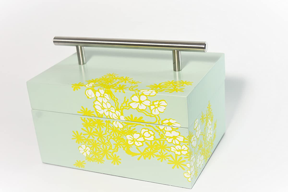 Wooden box keep safe box storage laquer box cheery bloom light green paint lift lid with stainless handle for home decor office study room dress or vanity Tall rectangle (Medium)
