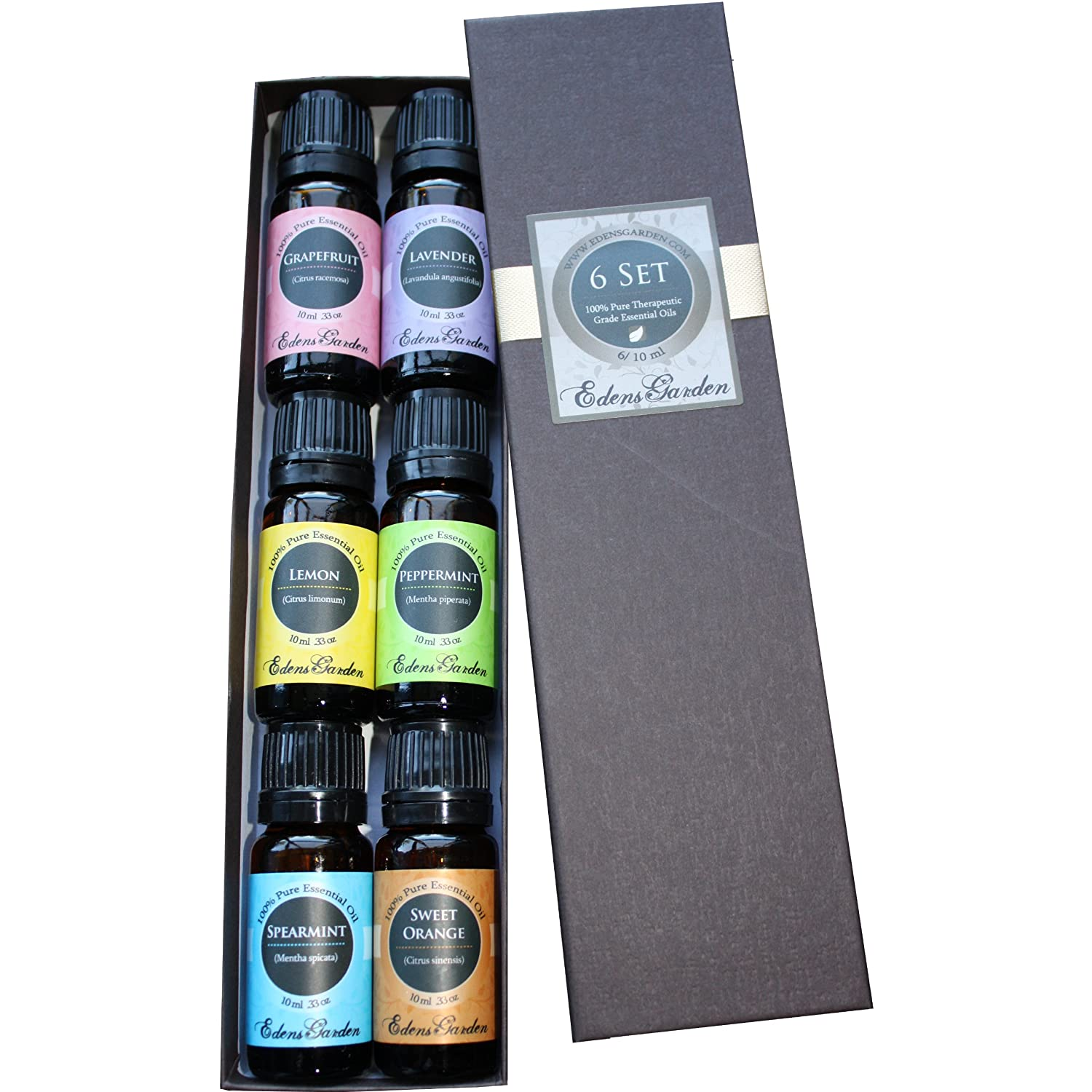 Essential Oil Home Aromatherapy Sampler Set- 6/10 ml. (Grapefruit, Lavender, Lemon, Peppermint, Spearmint and Sweet Orange) A great gift or a way to sample essential oils