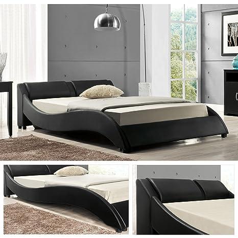 OSLO Doppelbett Polsterbett Bettgestell Bett Lattenrost Kunstlederbett (Schwarz, 180cm x 200cm)
