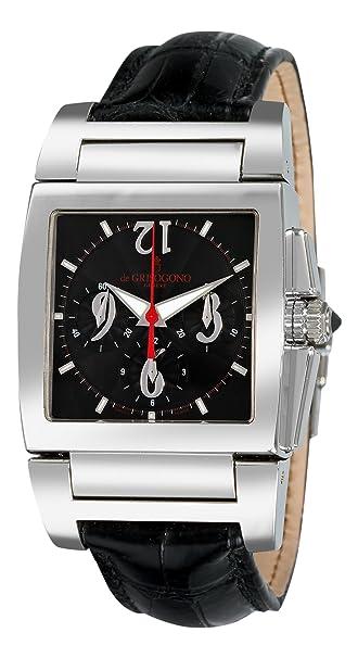 De Grisogono Men's CHRONO N01 Black Leather Strap Watch