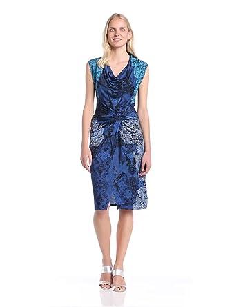 Desigual - carol - robe - été - femme - bleu (marino) - xs