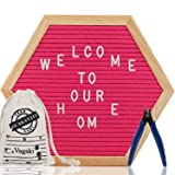 Letter Board - 12'' x 12'' Red Hexagon Felt Letter Board with 340 Letters, Changeable Letter Board Word Board,Business Message Board, Letter Sign with Mounting Hook Canvas Bag + Cute Scissors VAG063 (Color: 12x12 Pink)
