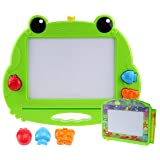 CHUCHIK Toys Magnetic Drawing Board for Kids and Toddlers. Large 14.8 Inch Doodle Writing Pad Comes with a 4-Color Travel Size Doodle Sketch Board. (Green-Frog) (Color: Green-frog)