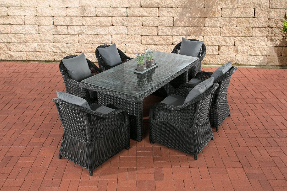 CLP Polyrattan Sitzgruppe LAVELLO schwarz, 6 Sessel inkl. Polster + Tisch 180 x 90 cm, Premiumqualität: 5 mm Rund-Rattan schwarz, Bezugfarbe eisengrau günstig bestellen