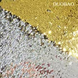 DUOBAO Sequin Fabric by The Yard Gold to Silver Emboridery Flip Up Sequin Fabric 5 Yards Mermaid Reversible Sequin Fabric Material for Sewing (Color: Reversible Gold to Silver, Tamaño: 5 Yards)
