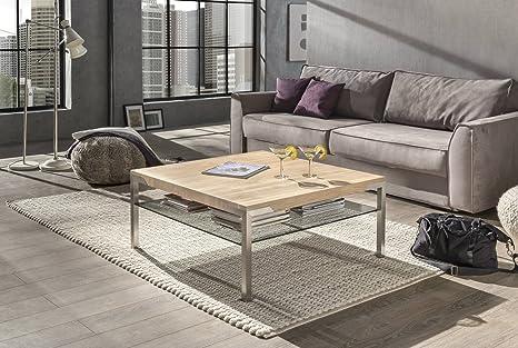 Couchtisch Wohnzimmertisch Mo Eiche Bianco 90x90 cm mit Ablage aus Glas. Stabiler Massivholztisch aus Eichenholz auf gebursteten Edelstahlfussen. Erhältlich auch in verschiedenen anderen Variationen. Holz aus FSC zertifizierten Wäldern. BIO-Qual