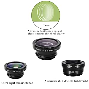 iPhone Lens,by Ailun,3 in 1 Clip On 180 Degree Fish Eye Lens+0.65X Wide Angle+10X Macro Lens,Universal HD Camera Lens Kit for iPhone 7/6s/6s Plus/6/SE/5/5s,Samsung,Blackberry,Mobile Phone [Black] (Color: Black)