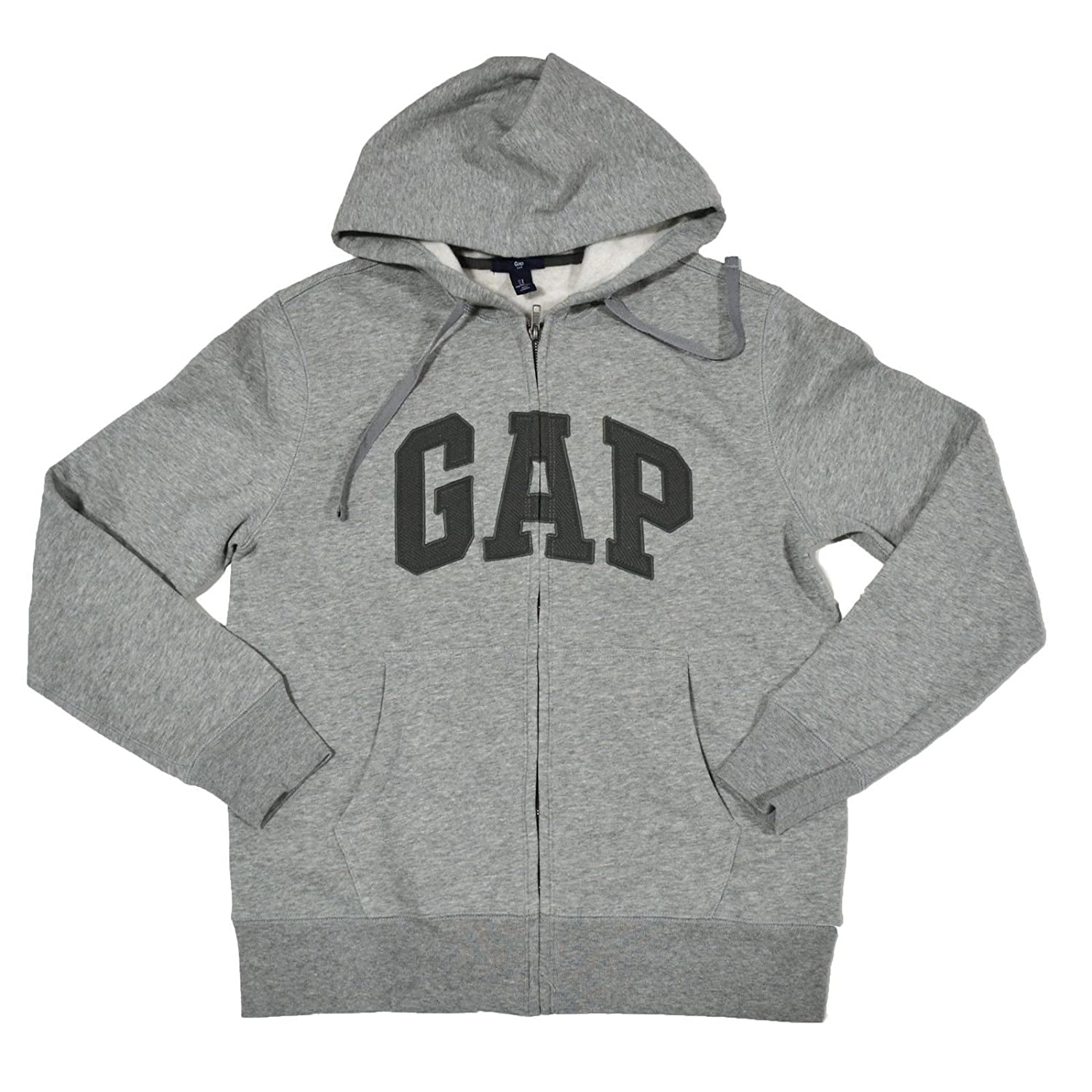GAP Mens Fleece Arch Logo Full Zip Hoodie for porsche cayenne 2015 stainless steel outer rear bumper foot plate trim 1pcs car styling