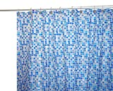 Famous Home Fashions Tiles Vinyl 5-1/2-Gauge Shower Curtain, Blue