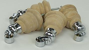 4 x de sólidos muebles de madera en bruto pies cromados cástor piernas 155 mm de altura para sofás, sillas, taburetes sofás M8 (8 mm)
