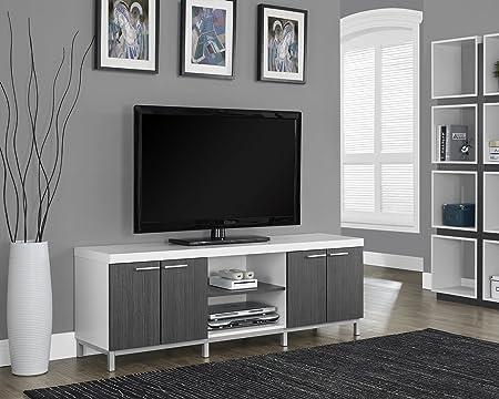 "WHITE / GREY HOLLOW-CORE 60""L TV CONSOLE (SIZE: 60L X 16W X 21H)"