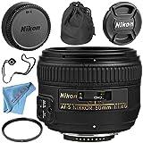 Nikon AF-S NIKKOR 50mm f/1.4G Lens + 58mm UV Filter + Fibercloth + Lens Capkeeper Bundle (Color: 50MM 1.4 AFS, Tamaño: Base)