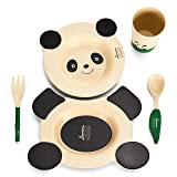 Baby Dinnerware Set for Baby Feeding - 5 Piece Kids Dinner Set - Cute Panda Design - Eco Friendly Bamboo Fiber - Includes 2 Toddler Plates, 1 Cup, Fork and Spoon - Ideal Baby Shower Gift by Coocootsa (Color: Black/White)