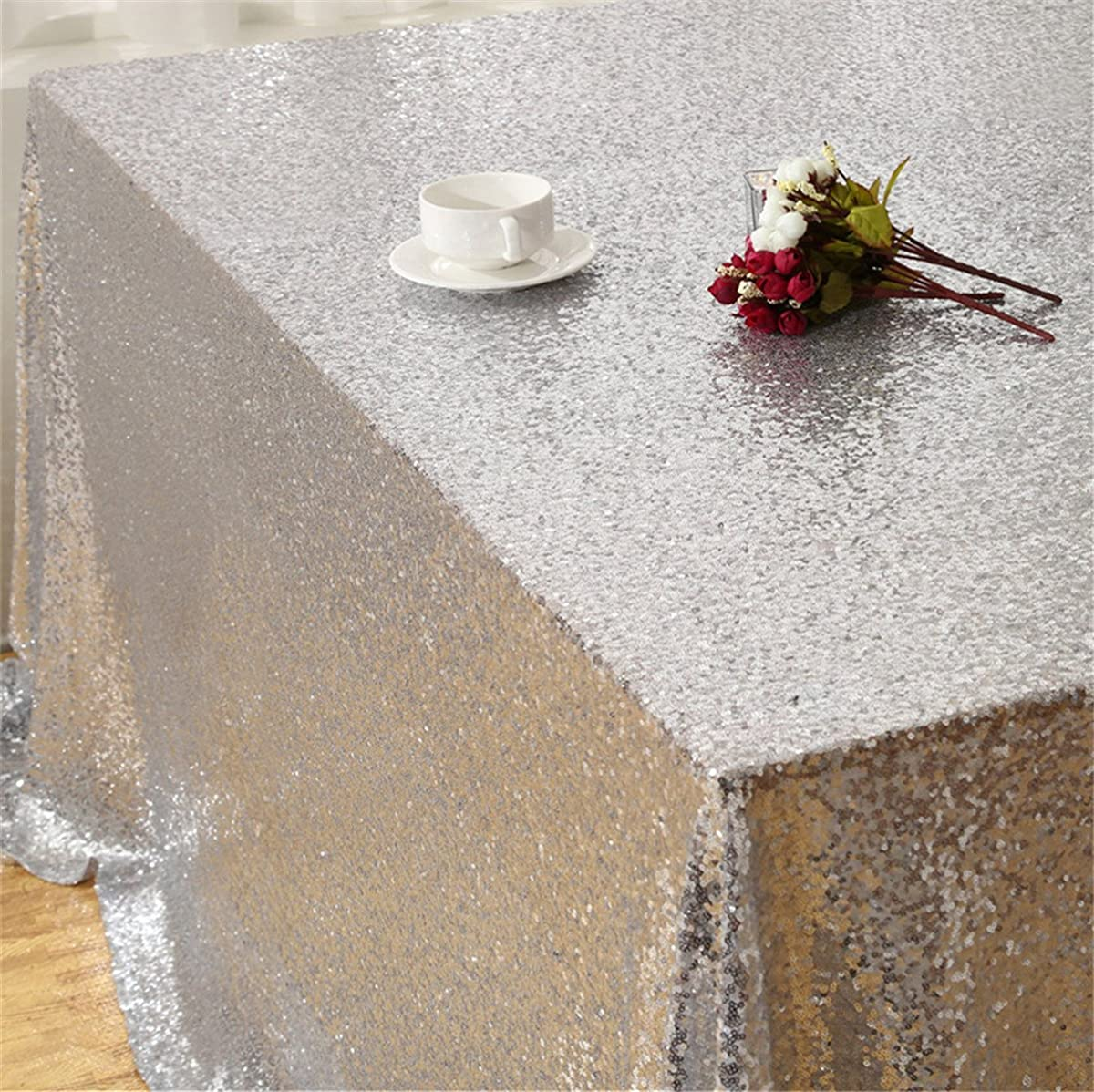 "Eternal Beauty Sequin Tablecloth, Sequin Table Linen, 70""x70"", Square, Silver"