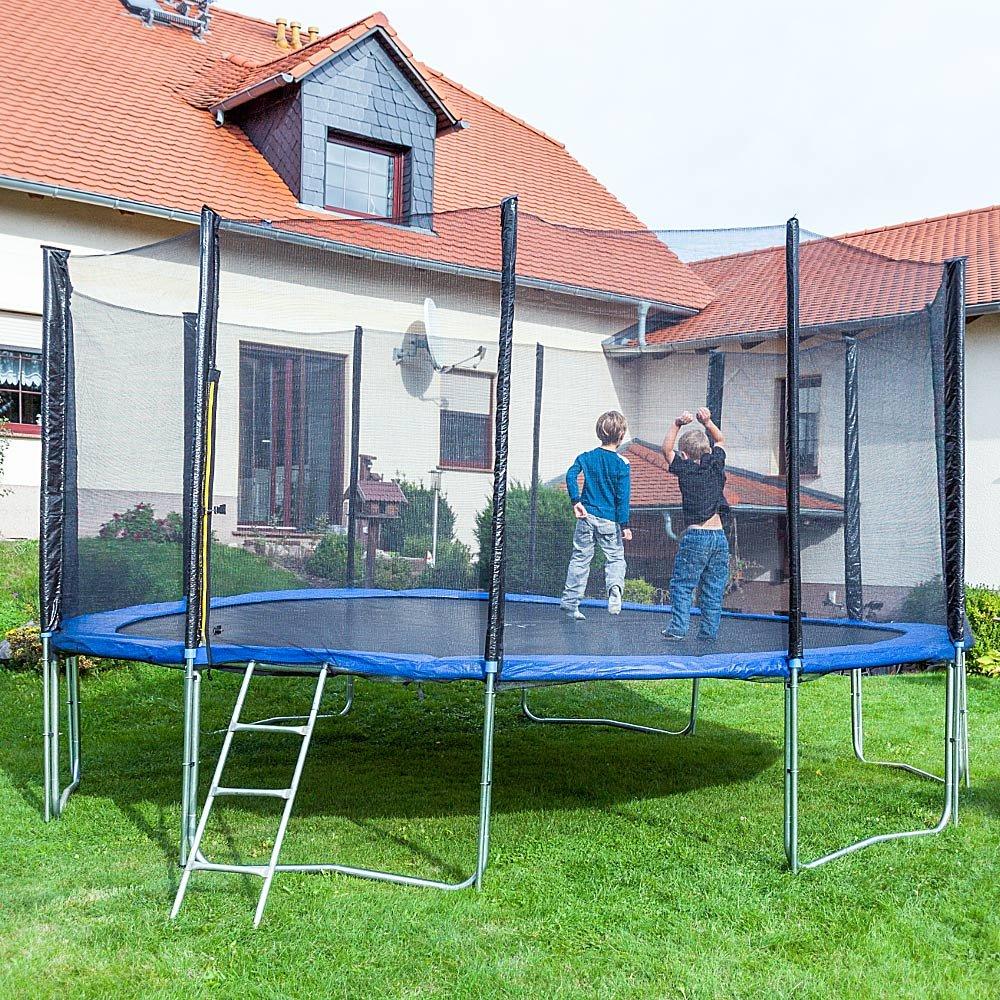 Gartentrampoline Trampoline Outdoor-Trampoline Fitness-Trampoline 490cm , inkl. Sicherheitsnetz,Schuhtasche, Bodenanker. Leiter und Abdeckplane bestellen