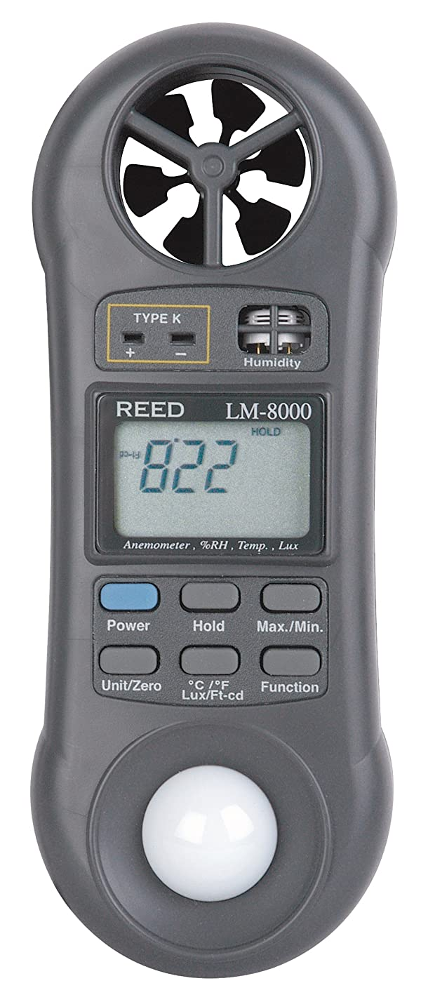 REED Instruments LM-8000 6-in-1 Multi-Function Environmental Meter (Air velocity/temperature, Ambient Temperature, Humidity, Contact Temperature and Light) with NIST Calibration Certificate