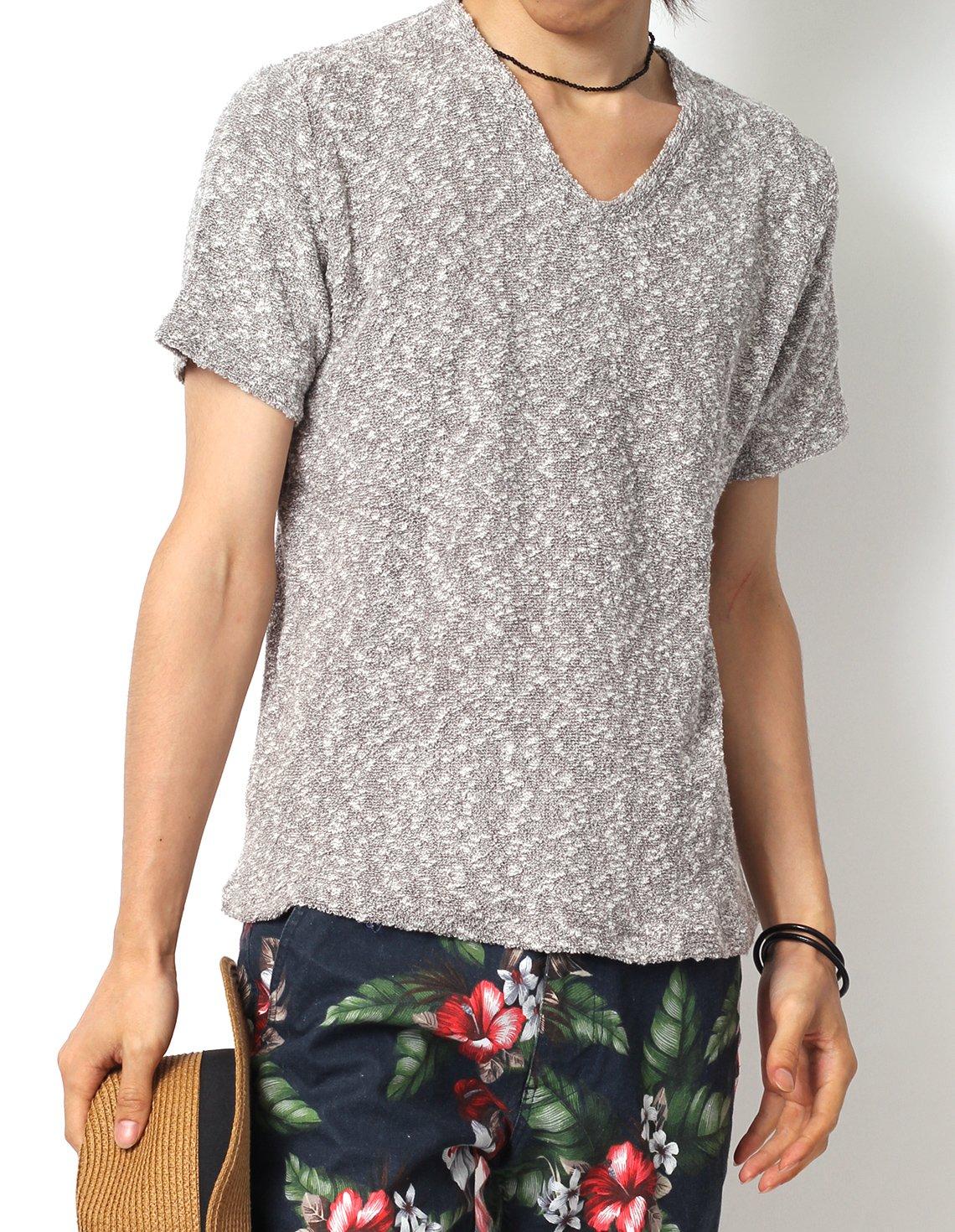 (リピード) REPIDO Tシャツ カットソー メンズ 夏 半袖 Vネック 無地 ニットソー サマーニット ニット 半袖ニット 杢 薄手