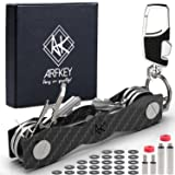 Smart Key Holder Key Organizer| Compact Key Holder Organizer- Made of Carbon Fiber + Lancher Key Chain, Loop Piece, Bottle & Sim Opener, Expansion Pack up to 30 Keys - Great Gift by ArfKey (Color: Black, Tamaño: Small)