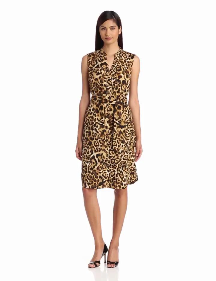Jones New York Womens Sleeveless Shirt Dress