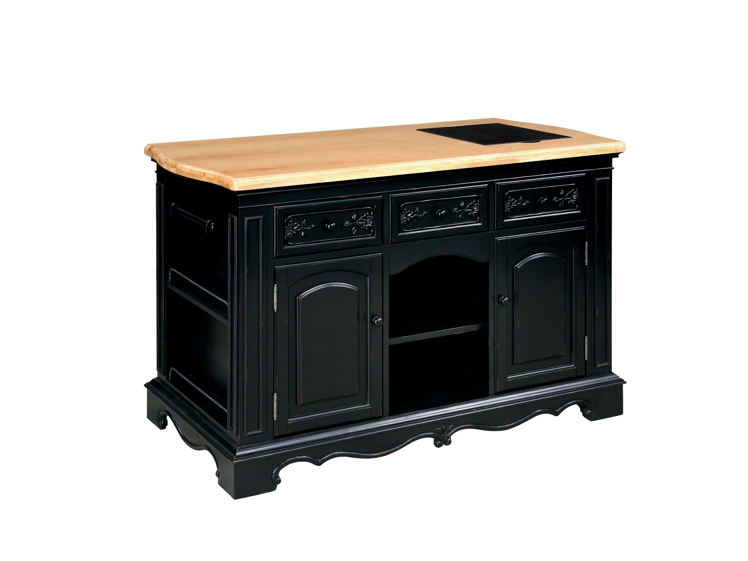 Powell Pennfield Kitchen Island Black Natural
