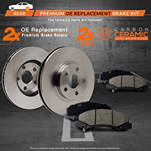 OE Series Rotors + Ceramic Pads KT018842 Max Brakes Rear Premium Brake Kit Fits: 2003 03 Honda Accord w//Rear Disc Brakes Non Hybrid model