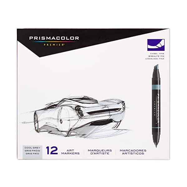 Prismacolor 3622 Premier Double-Ended Art Markers, Fine and Chisel Tip, Cool Grey, 12-Count (Color: Cool Grey, Tamaño: 12-Count)