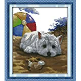 CaptainCrafts New DIY Art Stamped Cross Stitch Kit Pre-Printed Pattern Counted Embroidery Kits - Dog Missing (Stamped) (Tamaño: STAMPED)