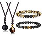 Jstyle 8mm Tiger Eye Beads Distance Friendship Bracelet for Women Men Natural Onyx Stone Beads Pendant Adjustable Healing Necklaces (Color: 2pcs bracelet+2pcs Necklace)