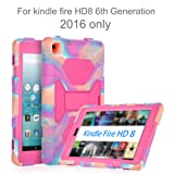 AMEISEYE Kindle Fire HD 8 Case for Kids with Tempered Glass (6th Generation, 2016 Release Only) Protective Silicone Cover Heavy Duty Shockproof & Scratchproof Adjustable Kickstand(Camo/Pink) (Color: Camo/Pink)