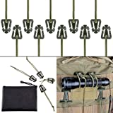 Pack of 10 Tactical Gear Clip Molle Web Dominators for Outdoor Hydration Tube Backpack Straps Management with Zippered Pouch by BOOSTEADY Army Green (Color: Army Green)