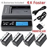 Kastar Ultra Fast Charger(4X faster) Kit and Battery (4-Pack 5800mAh) for Sony NP-F770, NP-F750, NP-F730 work with Sony DCR-TRV820, CCD-SC55, DCR-TRV820K, CCD-SC65, CCD-TRV815, DCR-TRV9, CCD-TR3, DCR-TRV900, CCD-TR3000, CCD-TRV85, DCR-VX200, CCD-TR3300, CCD-TRV86PK, DCR-VX2100, CCD-TR516, DCR-VX2100E, CCD-TR555, CCD-TRV88, DCR-VX700, CCD-TR67, CCD-TRV90, DSC-D700, CCD-TR716, CCD-TRV91, DSR-PD170, CCD-TR76, CCD-TRV93, HDR-FX1, CCD-TR818, CCD-TRV95, HVR-Z1U, HXR-MC2000U, NEX-FS700U, GV-D700 (Color: 17(COMBO: 4 BATTERIES + 1 ULTRA FAST CHARGER2 KIT))