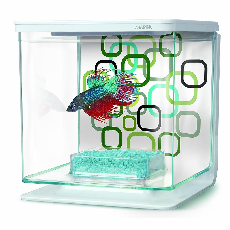 New fish starter aquarium kit small plastic tank 6 cube for Bubbles in betta fish tank