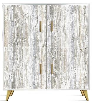 Commode en bois coloris vintage avec 4 portes - Dim : L 100 x H 114 x P 35 cm( Livré Monté ) -PEGANE-