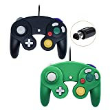 Poulep Wired Controller For Gamecube Game Cube, Classic Ngc Gamepad Joystick For Wii Nintendo Console (1Black and Green,Pack Of 2)   (Color: Black and Green)