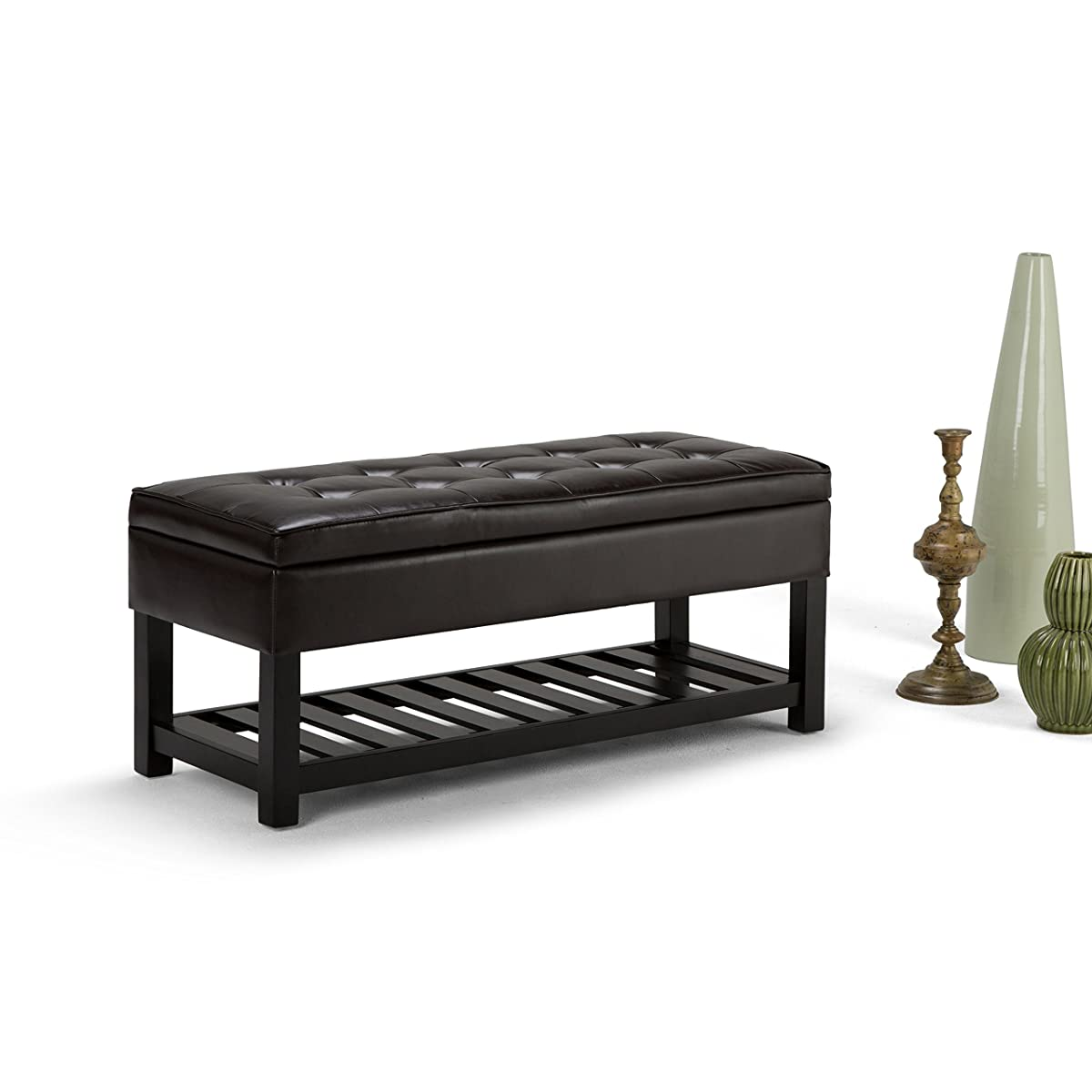 Simpli Home Cosmopolitan Storage Ottoman Bench, Espresso Brown
