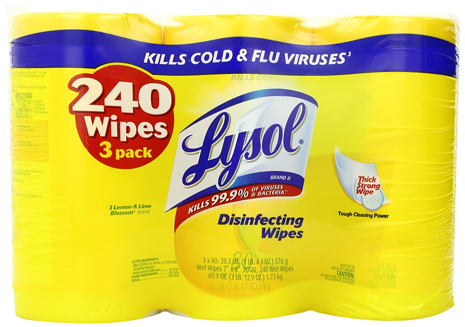 Lysol Disinfecting Wipes Value Pack, Lemon and Lime Blossom, 240 Count  $9.97