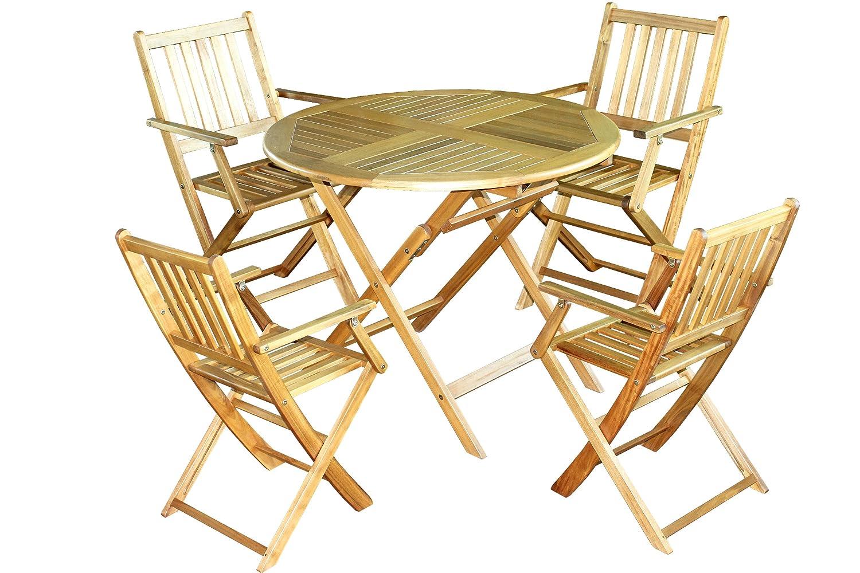 Brema 052139 Balkonset San Ramon 5-teilig Akazienholz, bestehend aus 4 Klappsesseln und 1 Klapptisch