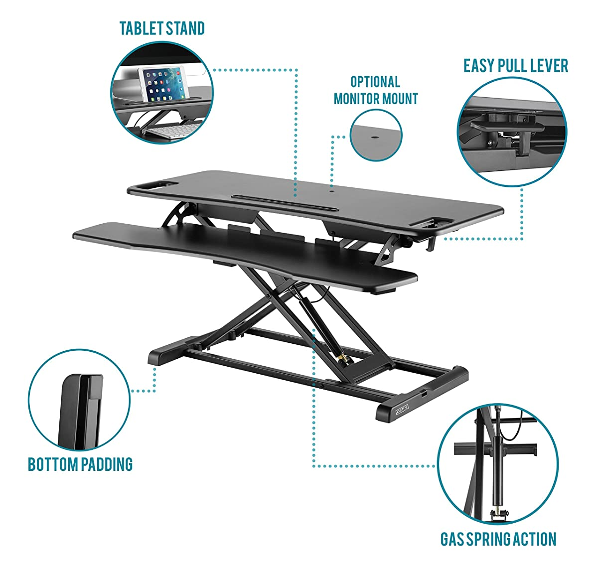 "Height Adjustable Standing Desk Converter Ergonomic Sit Stand Black Riser Large Table Top Size 37"" inch Gas Spring Workstation Anti Fatigue up Down Position Dual Monitor Computer Shelf Home Office"