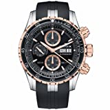 Edox Men's 'Grand Ocean' Swiss Automatic Stainless Steel and Rubber Diving Watch, Color:Black (Model: 01123 357RCA NBUR) (Color: Black/Gold)