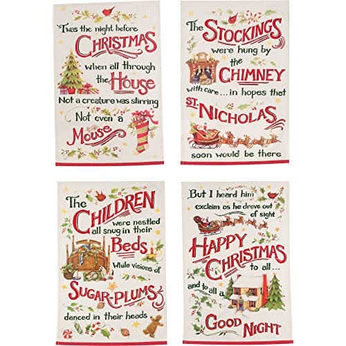 Kay Dee Designs Night Before Christmas Printed Tea Towels Set of 4